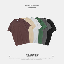 SODA WATER Brand Basic T-shirt Harajuku Solid O-neck Cotton T-shirt 2019 Summer New Arrival T-shirt Male Top Tees 91107S