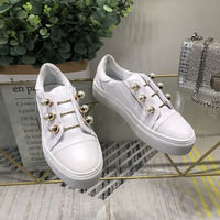 Woman Sneakers Slip On Woman Shoes White Color Pearl Decor Low Top Brand Runway Star Shoes Woman Flats Metal Decor Casual Shoes