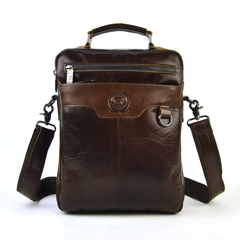 Men Vintage Genuine Real Cow Leather Shoulder Bag Cross Body Messenger Business Work Classic Retro Quality Bag Practical Satchel