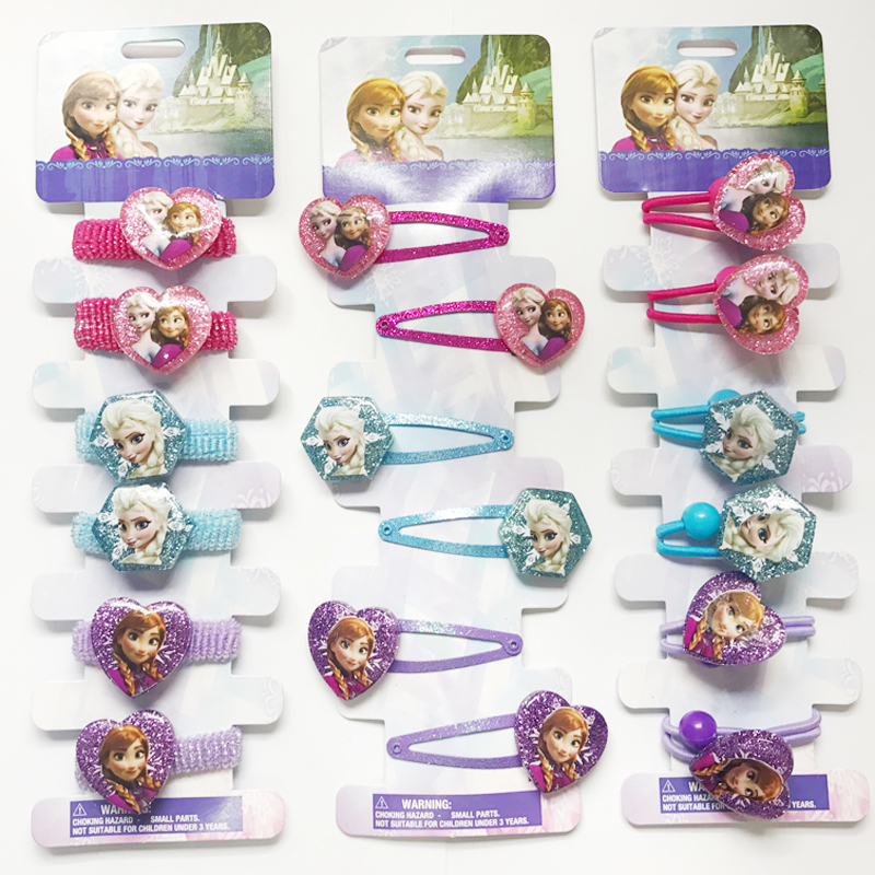 Girls Hair Accessories Elsa Anna Princess Hair Clips Cute Fashion BB Hairpins Cartoon Elastic Hair Rope hair Ornaments headwear 10pcs snow white sofia hrief princess anna elsa hair accessories cute kids bb hair clips flower crown rim hair bows 5