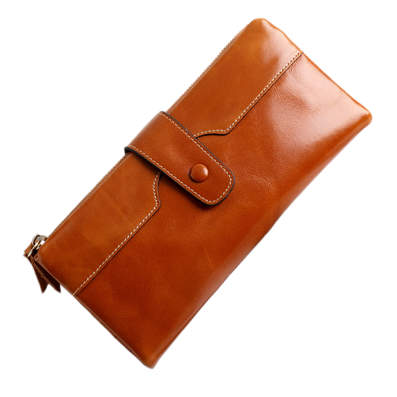 Luxury Brand Design Genuine Leather Women Wallet Female Long Purse Fashion Wax Oil Leather Wallet Ladies Phone Clutch Bag 2017 unique design women fashion leather wallet leisure clutch bag long purse girl female portefeuille mme a8