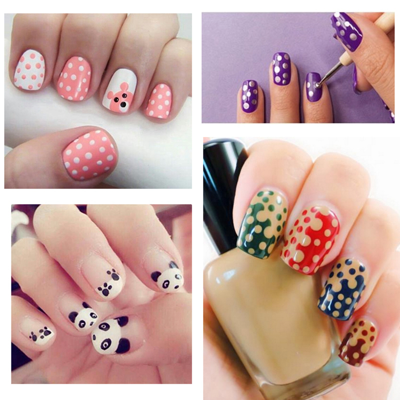 Elecool 1pcs 2 Way Design Manicure Dotting Pen Tools Flat Painting Nylon Brush Nail Art Kit Colors In From Beauty