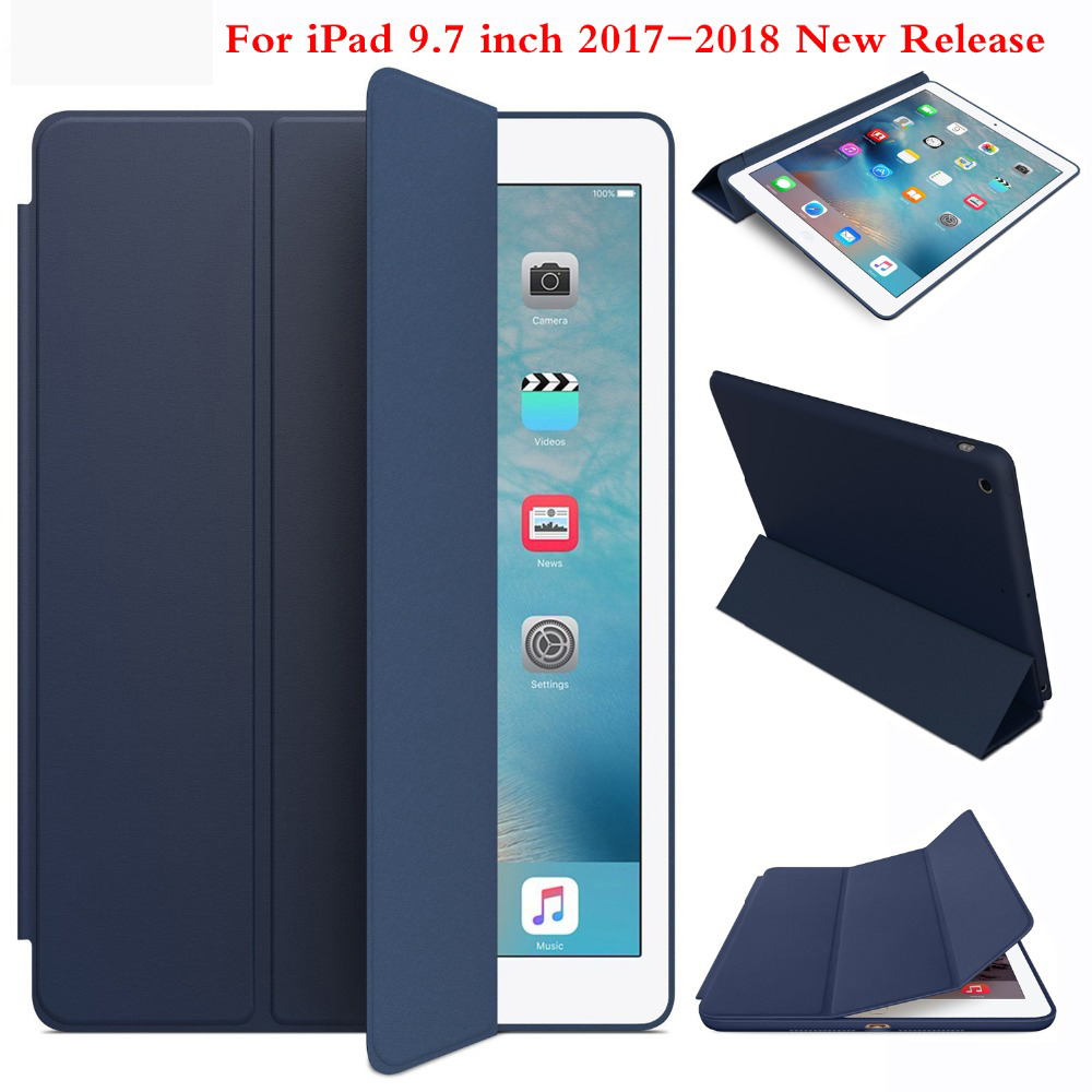 Smart Case For iPad 9.7 inch 2017 2018 New Version Ultra thin Sleep Wake Cover for model A1822 A1823 A1893 A1954(China)