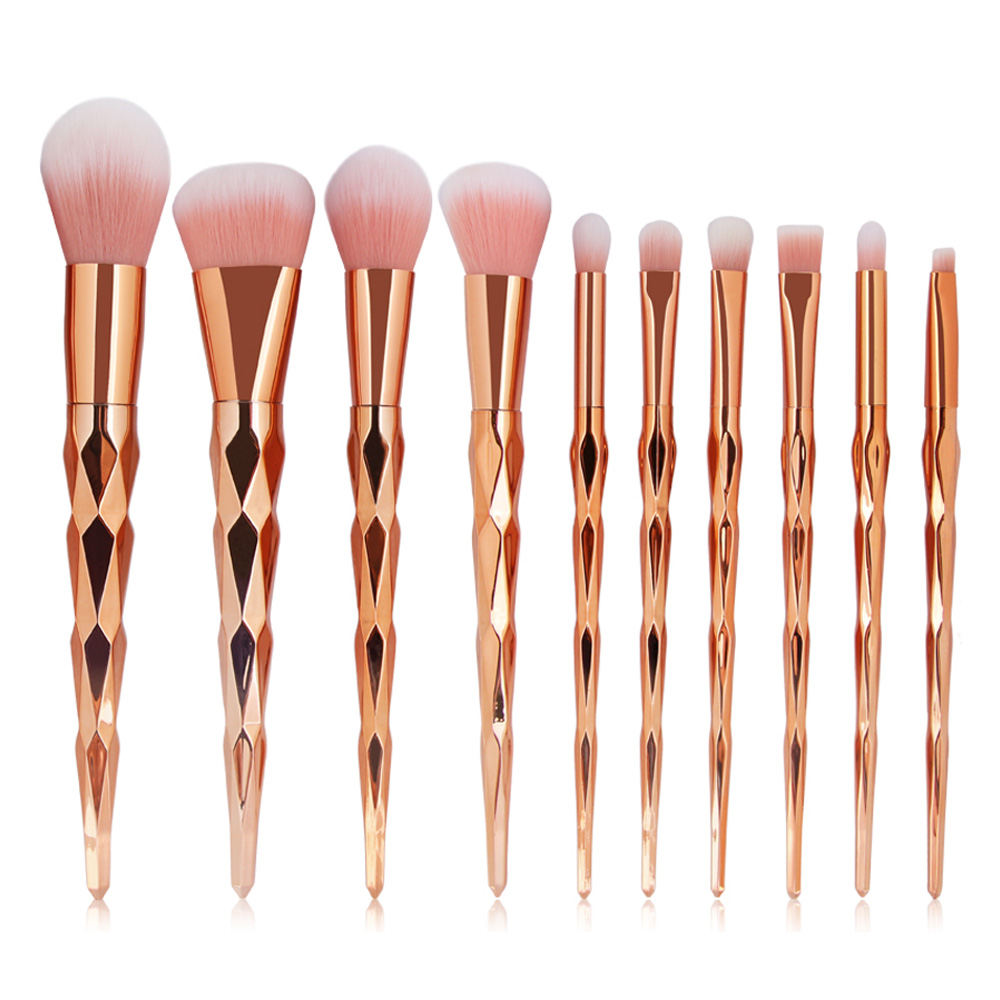 Pro 10Pcs/set Diamond Handle Cosmetic Makeup Brushes Set Power Foundation Blush Eye Shadow Contour Blending Lip Brush Tool Kits vander 5pcs pro lollipop shaped makeup brushes set powder foundation eye shadow beauty face lip blusher cosmetic brush blending