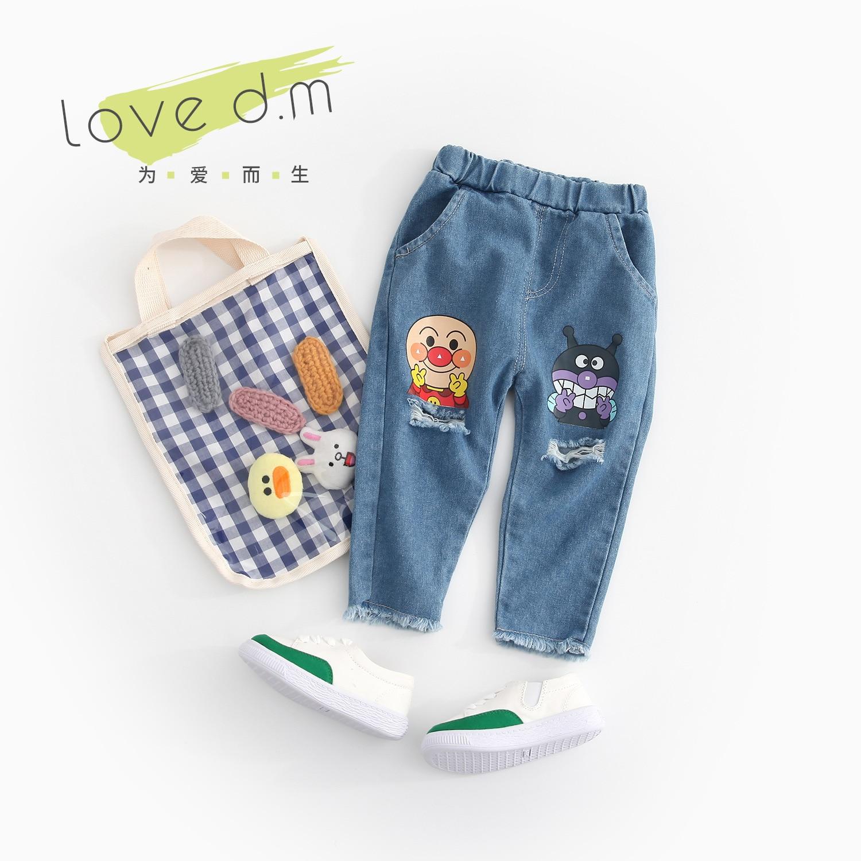 Newborn Baby Pants 2019 Spring Unisex Children Trousers Hole Denim Baby Boys Girls Jeans Elastic Waist Kids Cartoon Pants