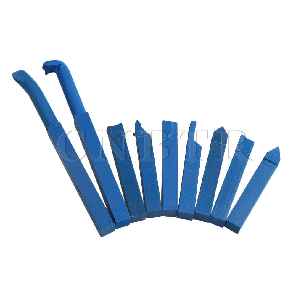 CNBTR 9 stücke Eisen Drehmaschine Gelötete Hartmetall Drehen Werkzeug Bohrer Platz Schaft Blau 10x10mm