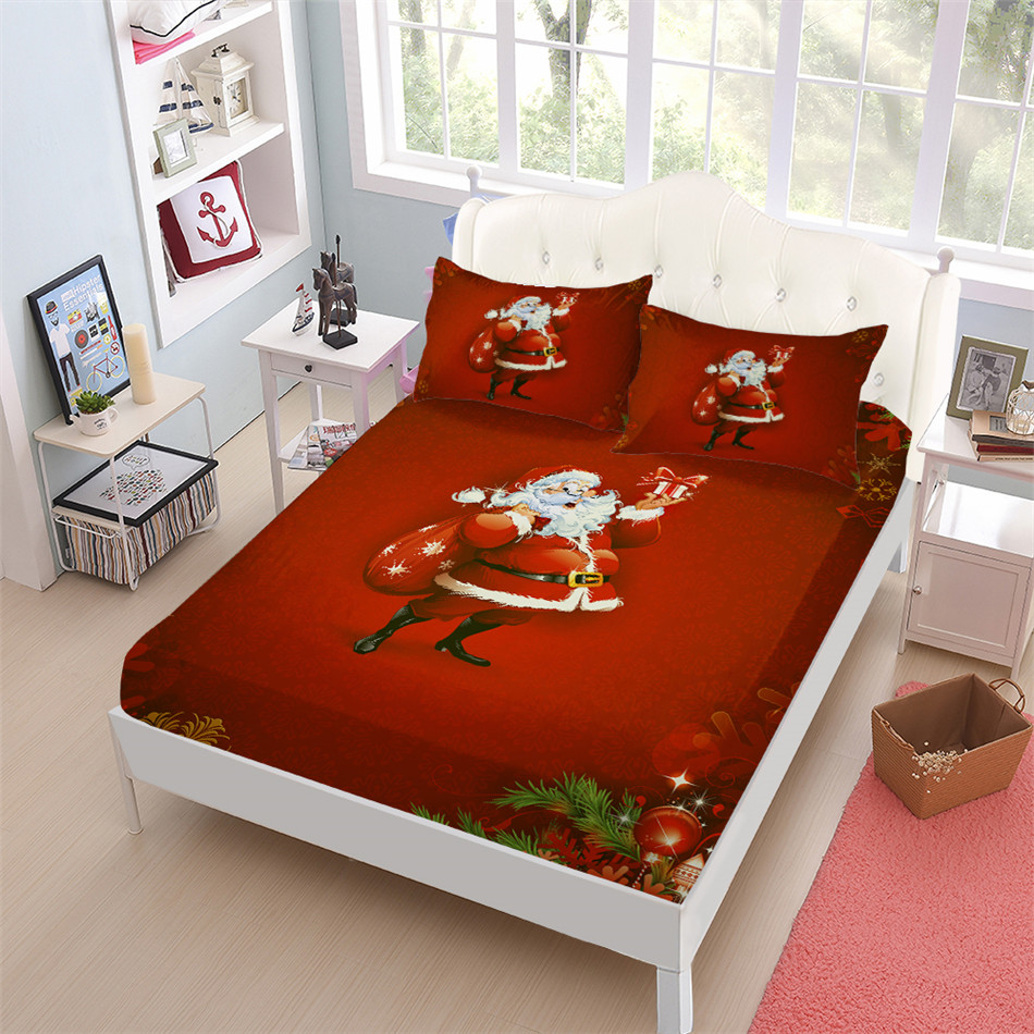 Red Christmas Sheets Set Cartoon Santa Claus Gift Print Bed Sheet King Queen Fitted Sheet Pillowcase Festival Gift Home DecorRed Christmas Sheets Set Cartoon Santa Claus Gift Print Bed Sheet King Queen Fitted Sheet Pillowcase Festival Gift Home Decor