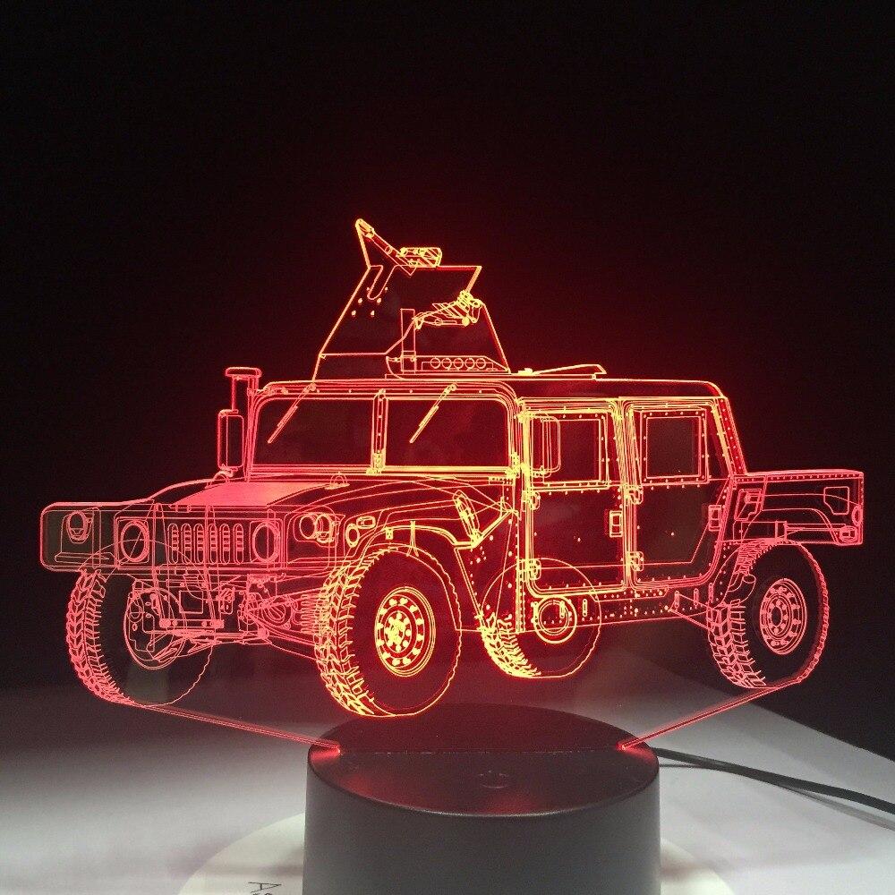 Military Truck Shape 3D LED Table Lamp Methacrylate plate Craft Night Light Innovative Lumine Deco Nightlight Colored Kids Gift