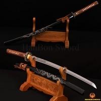 Hand Made Real Katana Japanese Samurai Dragon Engraving Kendo Sword Carbon Steel Brass Tsuba Full Tang Blade Knife Battle Ready