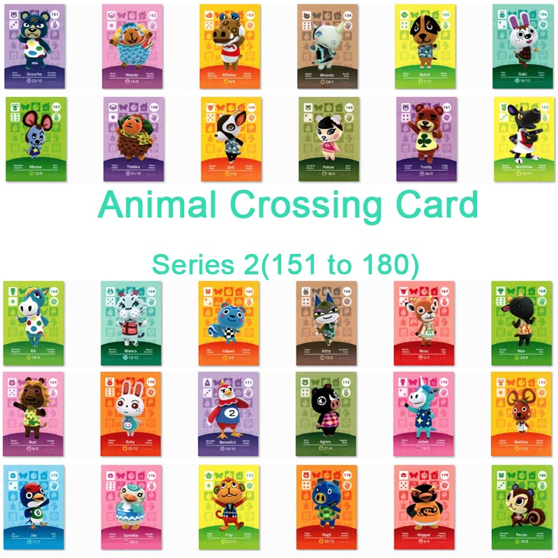 <font><b>Animal</b></font> <font><b>Crossing</b></font> <font><b>Card</b></font> <font><b>Amiibo</b></font> <font><b>Card</b></font> Work for NS Games Series 2 (151 to 180) image