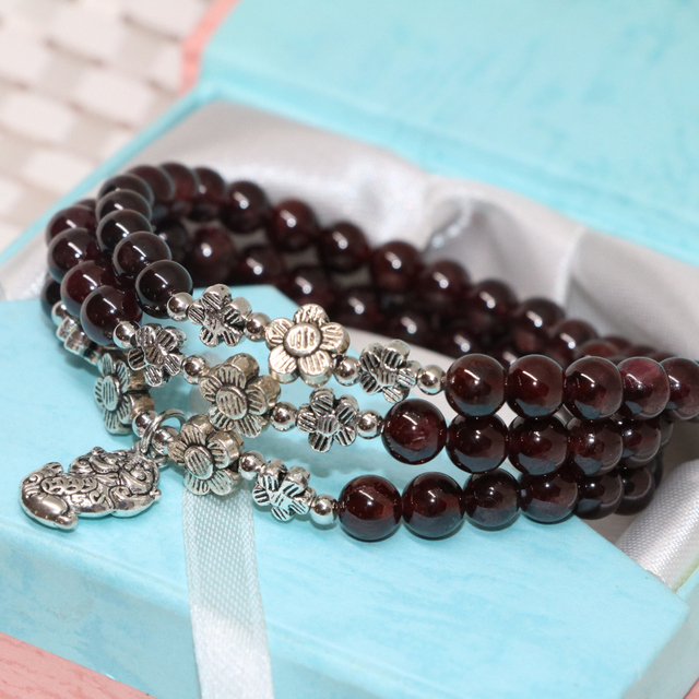 Hot sale natural garnet 6mm round beads women strand bracelets multilayers high grade free shipping jewelry making 7.5inch B2102