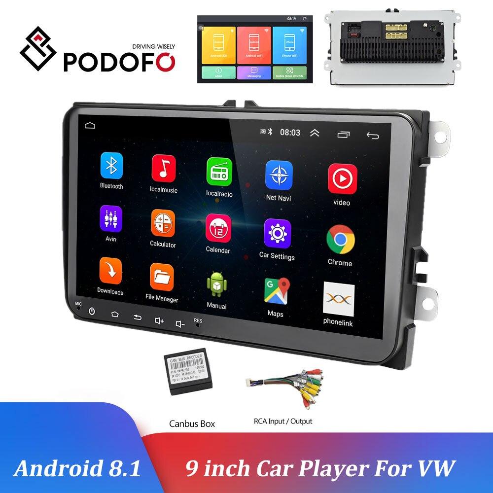 Podofo 9 pulgadas coche reproductor Multimedia Android 8,1 navegación GPS Radio de coche 2Din Auto Radio WIFI Bluetooth para VW/Passat/POLO/GOLF Seicane Android 8,1 2Din 9