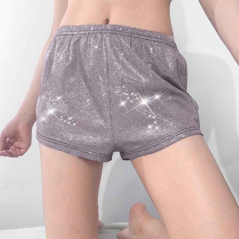 Women   Shorts   Club Wear Elastic Waist Reflective Slide Silk   Shorts   New Casual Loose   Short     Shorts   For Girl Fashion