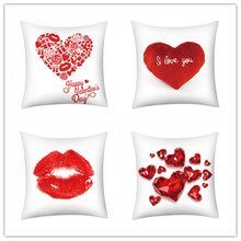 цена на 2019 Happy Valentines Day Pillow Cases Cushion Cover Polyester Red Heart Love Print Throw Pillow Case Home Decoration Pillowcase