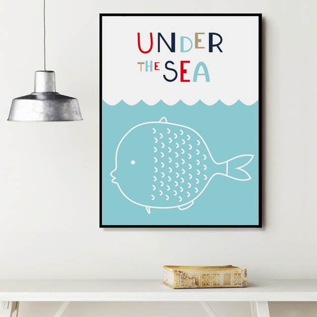 Us 5 4 Simple Cartoon Sea Animal Fish Flying Birds Wall Art Canvas Painting Picture Home Decoration A4 A3 A2 Hd Printing Canvas Poster In Painting