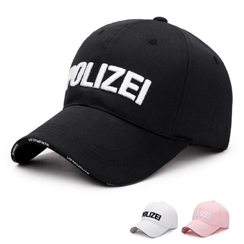 2018 Cotton Spring Summer Solid Adjustable Baseball Cap Men Women Embroided  POLIZEI Letters Dad Hat Unisex Casual Snapback Hats 2cecd11d146e