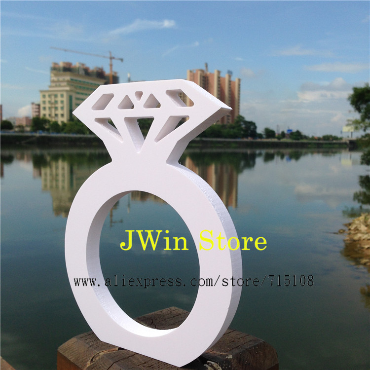 Merchandise Excellence Wedding Props Decoration White Big Size Diamond Ring Props Letter Wedding Props Marriage Props 20*15cm