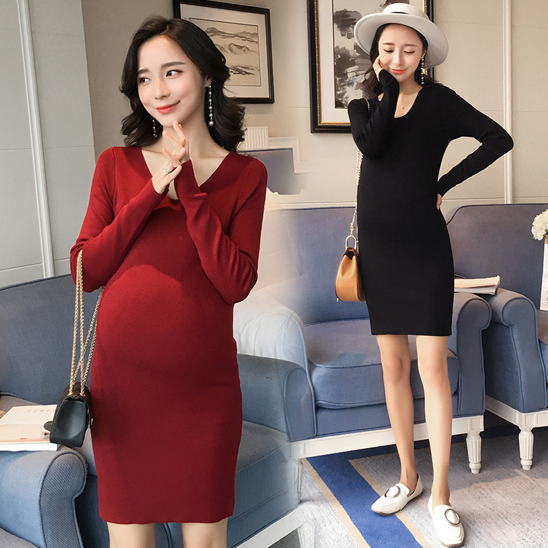 Slim Thin Knitting Dress Maternity Sweaters Autumn Winter Maternity Clothes 2017 Pregnancy Clothing for Pregnant Women