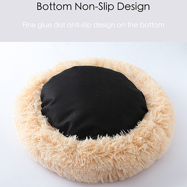 Soft Long Plush Round Pet Dog Bed for Small Medium Dogs Winter Warm Cat House Sleeping Lounger Kennel Kitten Puppy Dog Bed Mat 3