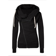 Women Autumn Winter Casual Hoodies Solid Zipper Plus Size Hooded Sweatshirts Candy Color Female Top Quality Cloth
