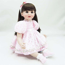 22 inch 55 cm   reborn  Silicone dolls, lifelike doll reborn babies toys Pretty pink princess dress girl
