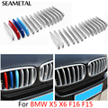 For BMW X5 X6 F16 F15 2014 2015 2016 Car Front Grill Covers Protector Strips Trim External Decoration Accessories Car-styling