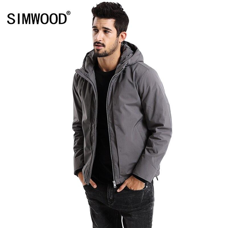 SIMWOOD جديد 2019 الشتاء الرجال قميص زائد حجم البوليستر سميكة سترة أنيقة تحمل شعار لعبة البيسبول الرجال عارضة الدافئة عالية الجودة العلامة التجارية معاطف MD017002-في سترات فرائية مقلنسة من ملابس الرجال على  مجموعة 1