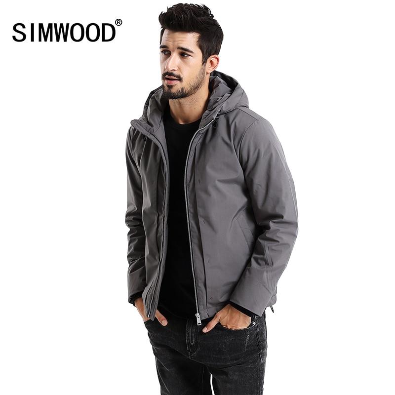 SIMWOOD nowy 2019 zima mężczyźni odzieży wierzchniej Plus rozmiar poliester grube modna kurtka mężczyźni na co dzień ciepły wysokiej jakości marka płaszcze MD017002 w Parki od Odzież męska na  Grupa 1