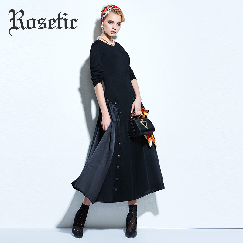 Rosetic Women Vintage Gothic Style Black Color Autumn Long Sleeve Backless Button Long Dress 3