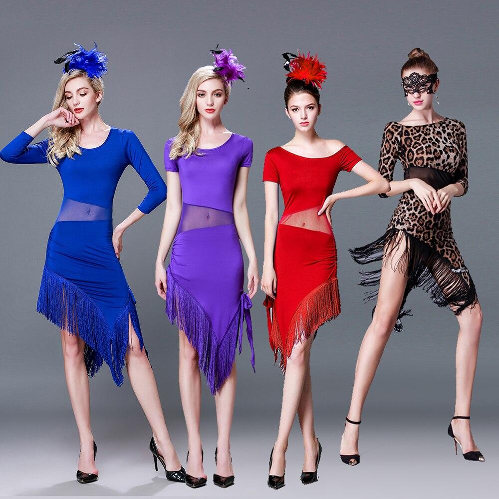 Newest Latin Dance Dresses For Ladies Blue Red Purple Color Plus Size Skirts Economic Women Ballroom Square Salsa Dresses W1182