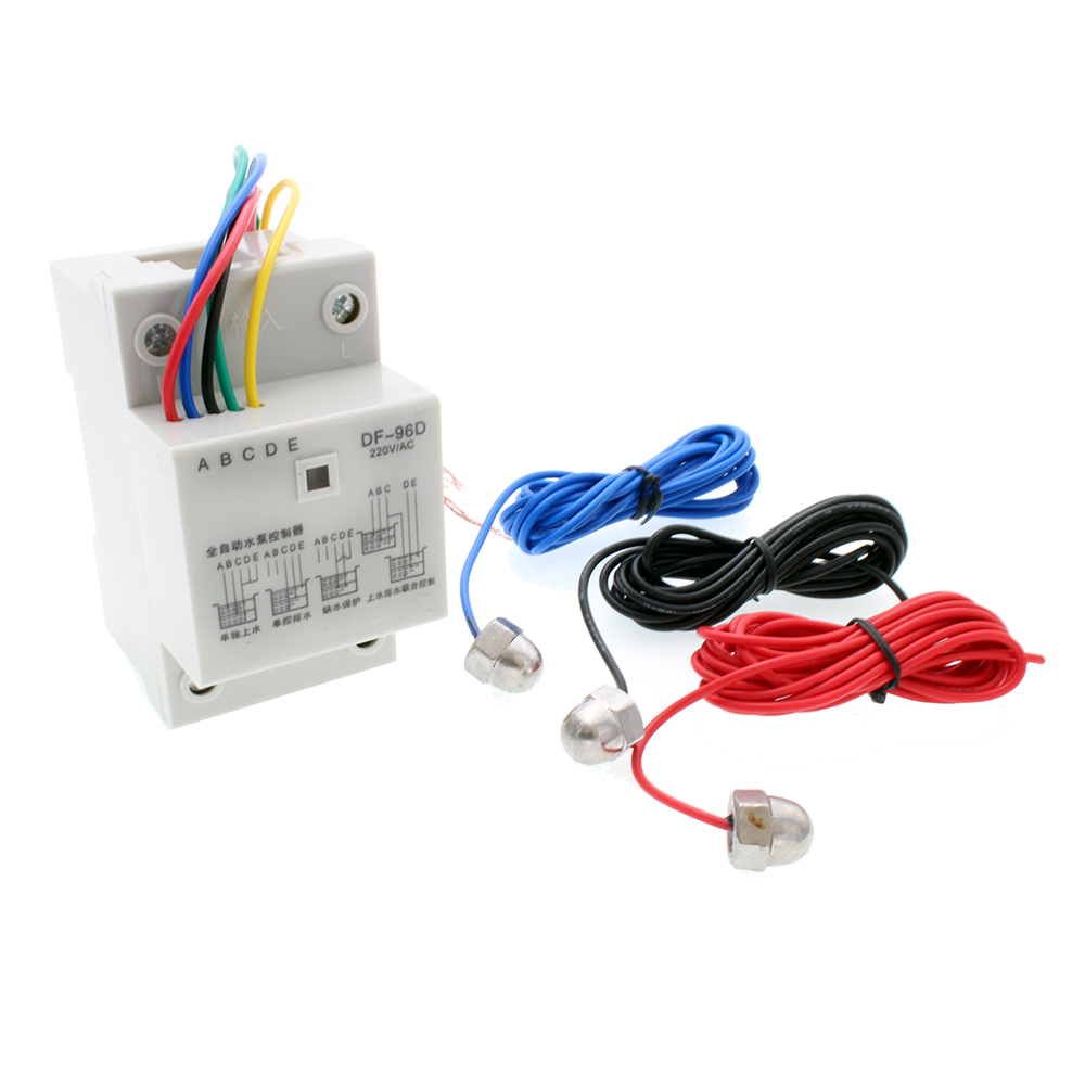 AC 220V 10A 110V EDF96D Din Rail Mount Float Switch Auto Water Level Controller Water Pump Controller With 3 Probes цена