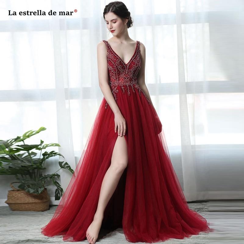 Mezuniyet elbiseleri2019 new tulle crystal sexy V-neck open back high fork A Line burgundy   prom     dresses   long vestidos de graduac