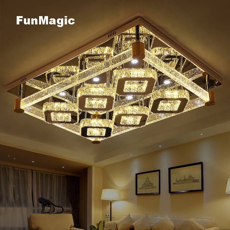 Modern Rectangle Bright Large Crystal LED Ceiling Light Living Room Decorative Lighting Bedroom Study LED Dimming Fixture Lamp