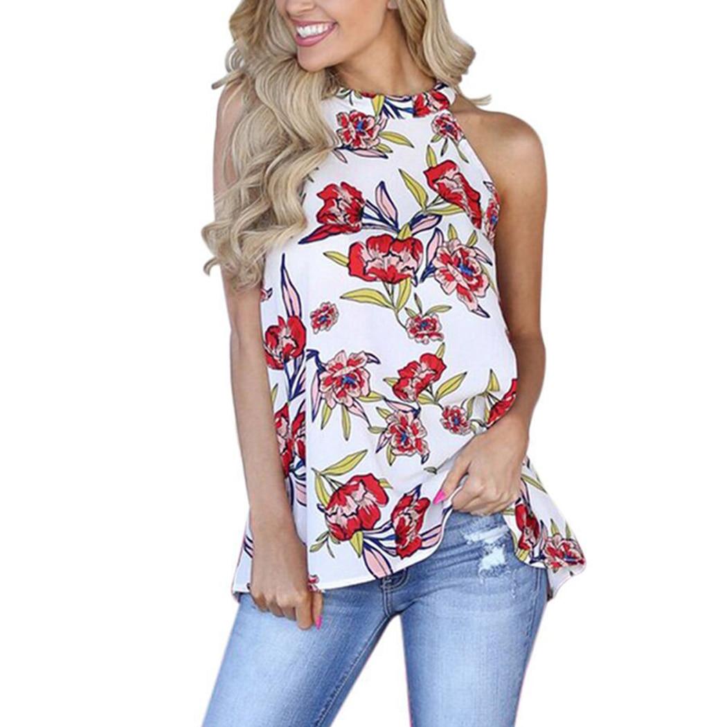 Fashion Womens Boho Style Backless Sleeveless Chiffon Halter Blouses Floral Printed Beach Shirts Slim Blusas Tops Summer 2018