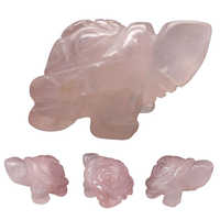 Cute Tortoise Pink Quartz Hand Carved Gemstone Craft Animal Totem Carved Statue Lucky Tortoise Ornament Home Decor
