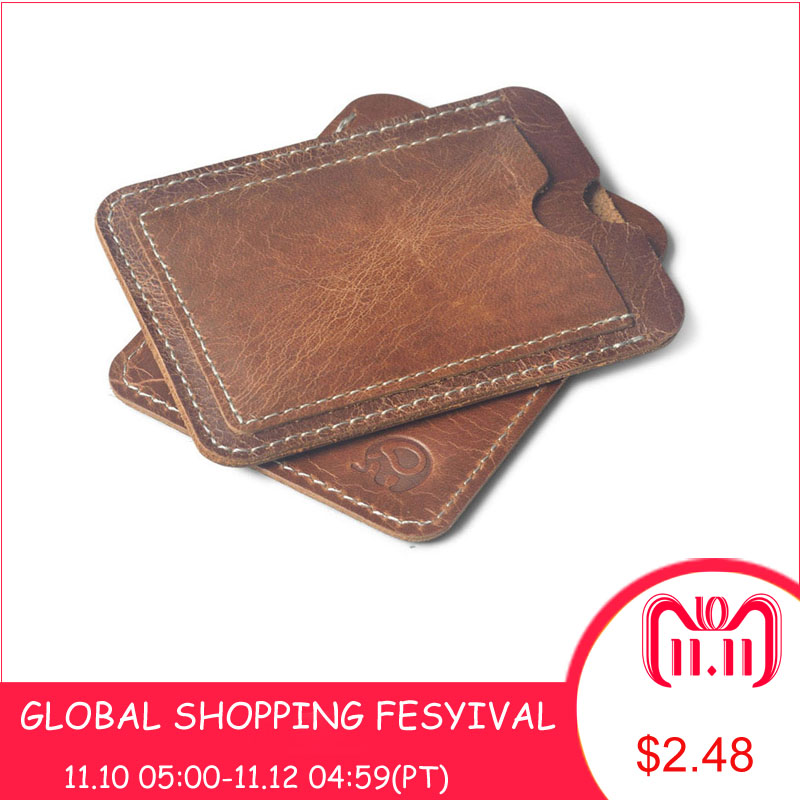 Crazy Horse Cowhide Leather Credit Card Holder Genuine Leather ID Card Holders Men Business ID Wallet Slim Wallet for boyfriend цена 2017
