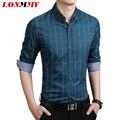 LONMMY М-5XL С Длинным рукавом мужчины рубашки марка повседневная Slim fit Клетчатую рубашку Моды для мужчин Бизнес Новый 2016 Весна Темно-Синий хаки