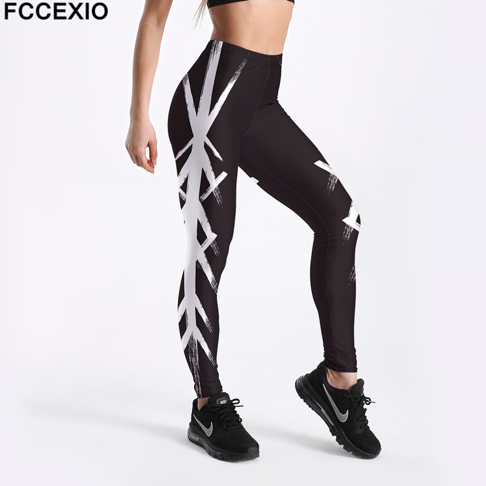 FCCEXIO New Women Workout   Leggings   High Waist Fitness   Legging   White Striped Printed Leggins Female Leg Pants Large Size   Leggings