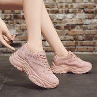 Женские кроссовки на не сужающемся книзу массивном каблуке, коллекция 2018 года, модная женская обувь на платформе, на шнуровке, розовая вулка...