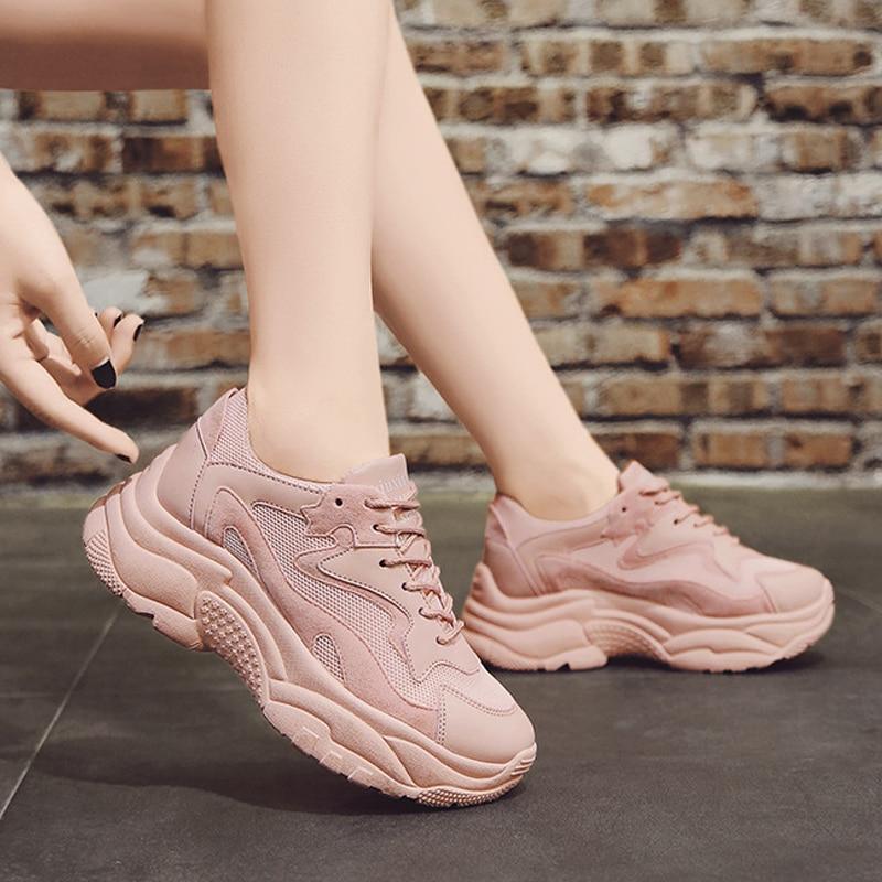 Frauen Chunky Turnschuhe 2019 Mode Frauen Plattform Schuhe Lace Up Rosa Vulkanisieren Schuhe Frauen Weibliche Trainer Papa Schuhe