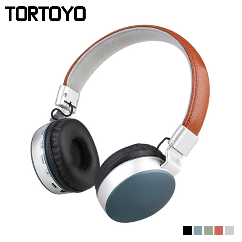 TORTOYO Foldable Bluetooth Headphone Wireless Over Ear Stereo Bass Headband Headset with Microphone TF Card FM Radio 3.5mm Aux s450 foldable wireless stereo bluetooth v2 1 edr headband headphone w fm tf mic purple