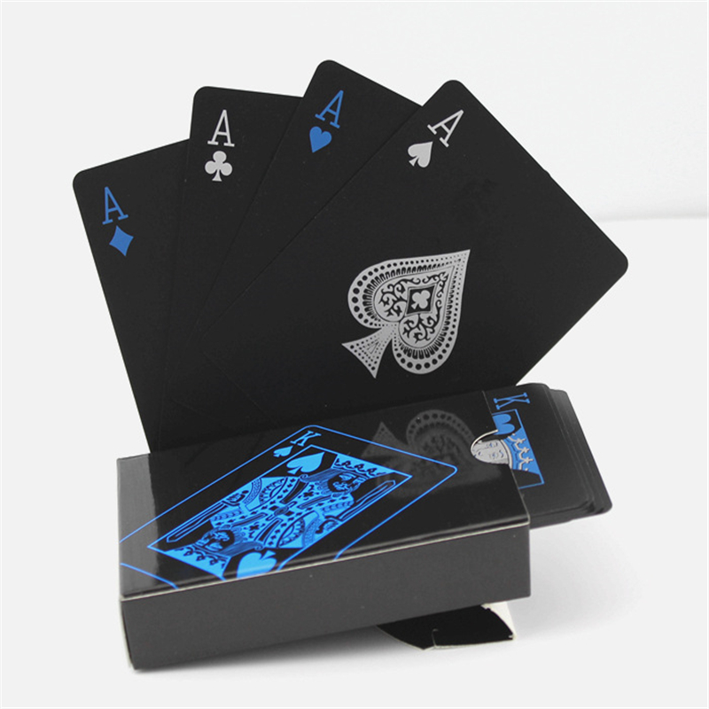 Halloween Cosplay Waterproof Pure Black Plastic Poker Board Game Card PVC Magic Poker Cards For Men And Women
