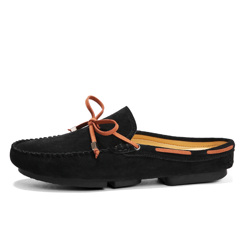 Chaussures En Pantoufles Pour Respirant Gray khaki Men Skor Marque Demi Hommes Suédé Jkpudun black Lacent Luxe Men Cuir Shoes De D'été 2018 Mocassins Men XxwF6qtE