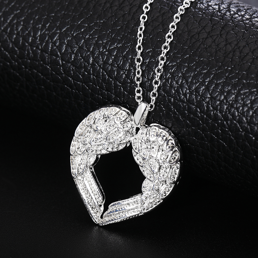 Silver Jewelry Fashion Angel Wing Pendant Necklace Love Elegant 925 Sterling