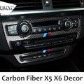 Углеродного Волокна Автомобилей AC Управления CD Декор Рамка Переключения Передач Панели Украшения наклейка для BMW X5 E70 X6 E71 2009-2013 Автомобилей интерьер