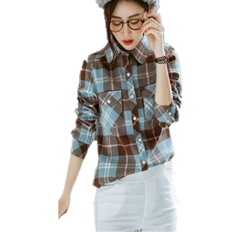 Blusa Feminina Blouses font b Tartan b font Plaid Flannel Shirt Women Thick Warm Long Sleeve