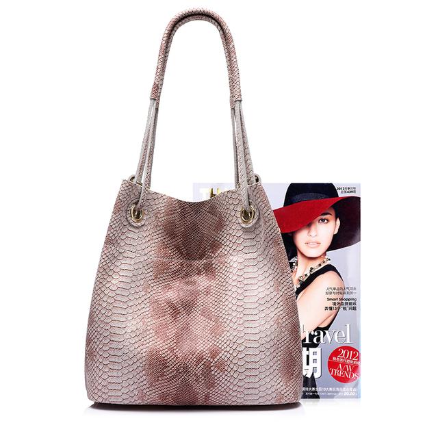 REALER brand genuine leather handbags women casual tote bag female serpentine prints shoulder bag ladies large crossbody bags