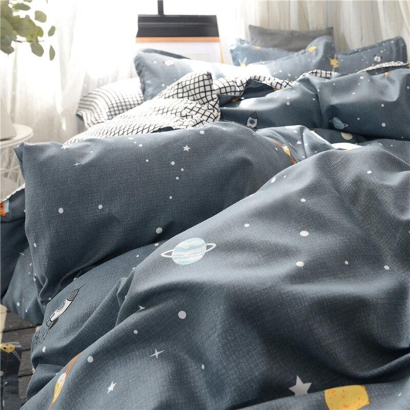 Image 5 - Planet Printing Bedding Set Skin friendly Pillowcase Flat Sheet Duvet Cover Set AB Side Kids Bedding 3/4pcs-in Bedding Sets from Home & Garden