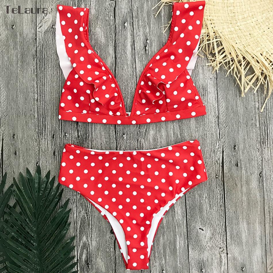 HTB18ZSBimCWBuNjy0Fhq6z6EVXaa 2019 Sexy High Waist Bikini Women Swimwear Push Up Swimsuit Ruffle Bathing Suit Polka Dot Biquinis Summer Beach Wear Female