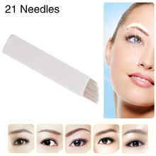 50 PCS Caution S21 Permanent Eyebrow Makeup Manual Tattoo Bevel Blades 21 Needles